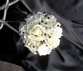 Real Touch Ivory/White Rose Wedding Bouquet accented with Black Beading. Make a Statement at your Wedding.