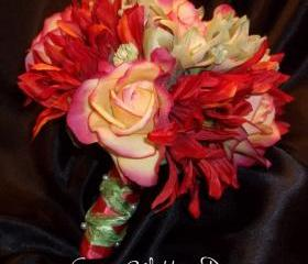 Wedding Bouquet of Real Touch roses, Sun Flowers, Amaryllis buds in shades of reds, rust, corals and greens.