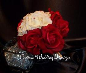 Featured on Weddingzilla. Red and Ivory. Real Touch Round Wedding Bouquet.